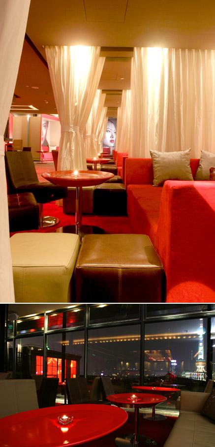 ресторан Bar-Rouge, расположенный в шанхайском небоскребе, дизайн - Imaad Rahmouni