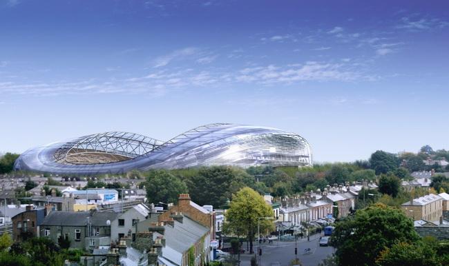 Стадион Lansdowne Road Stadium, Дублин, Ирландия, архитекторы HOK Sport и  Scott Tallon Walker, конструкция и инженерия - Buro Happold