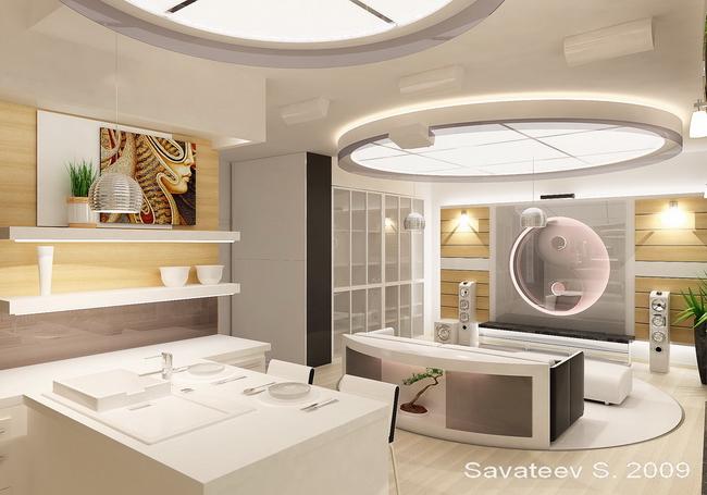 кухня и столовая, дизайн-проект Сергея Саватеева