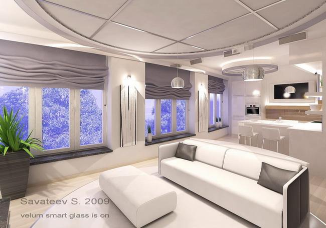 интерьер гостиной с затемненным стеклом