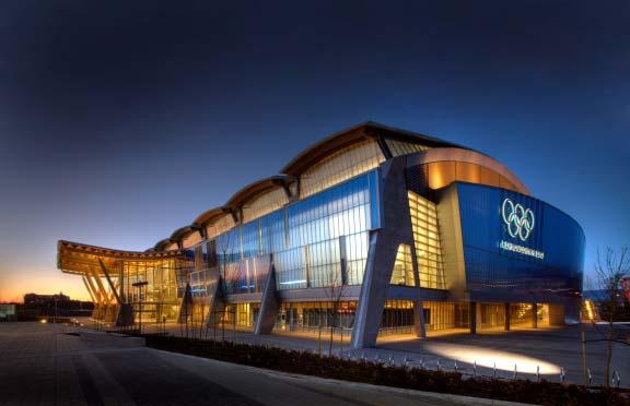 Стадион Richmond Olimpic Oval, вечернее освещение