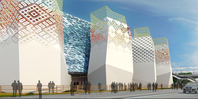 павильон, вид на главный фасад и входную зону