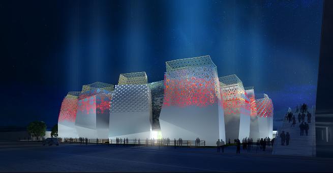 российский павильон, наружная подсветка фасада