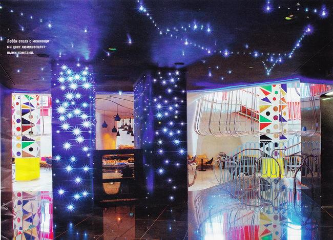 интерьер лобби новой гостиницы в Милане, дизайн интерьера - Итало Рота