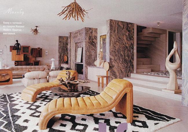 интерьер гостиной, собственный дом дизайнера Келли Уистлер
