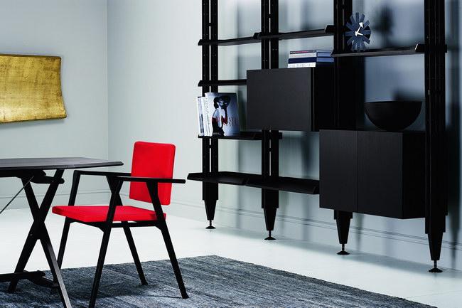 стеллаж, стул и стол, дизайн Франко Альбини, производит Сassina