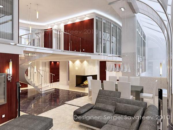 интерьер двухуровневой квартиры, гостиная и галерея второго этажа