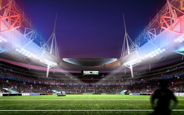 вид на раздвижную крышу, интерьер стадиона на Крестовском