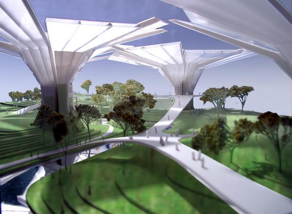 искусственный ландшафт, проект Senscity Paradise, архитектурное проектирование и генеральный план Behnisch Architekten, консультант Transsolar ClimateEngineering