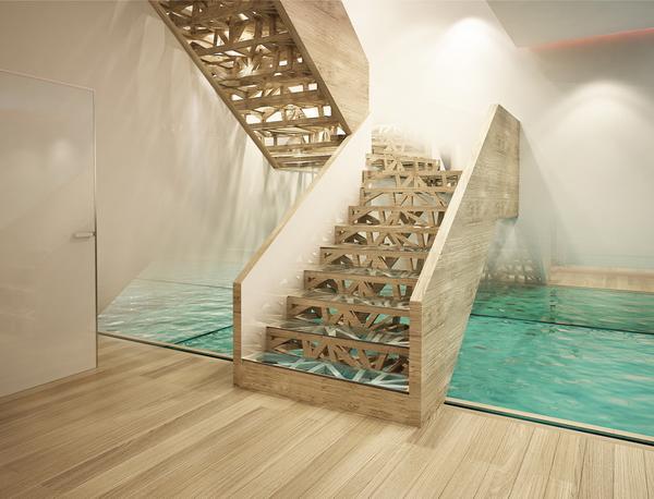 лестница в интерьере загородного дома