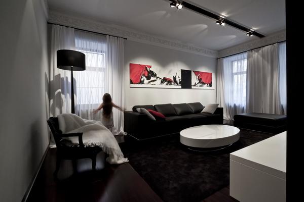 зона гостиной, общий вид интерьера, фотография