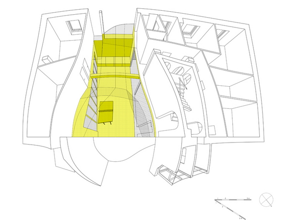 горизонтальный разрез офисных помещений, аксонометрия, архитектурная графика -студия Marc