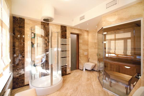 интерьер ванной комнаты с сауной, фотография