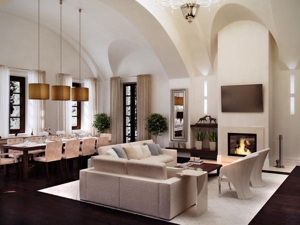 зона с камином в интерьере гостиной