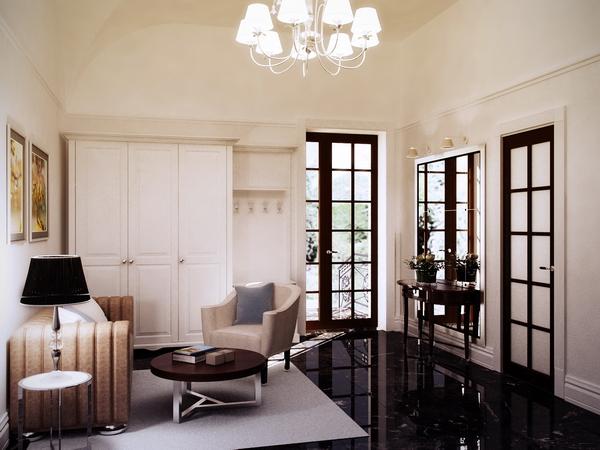 интерьер холла с диваном и журнальным столиком