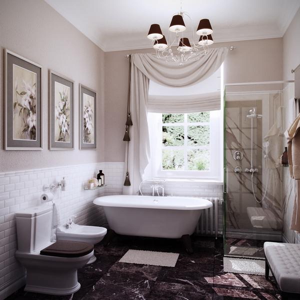 ванная с окном при спальне хозяев