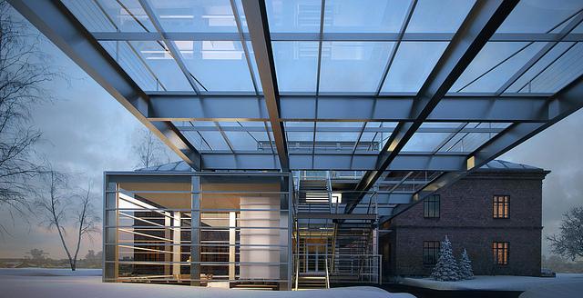 пристрой  для музея: металл и стекло