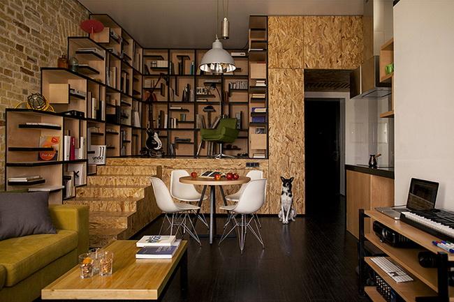 интерьер гостиной, фронтальный вид