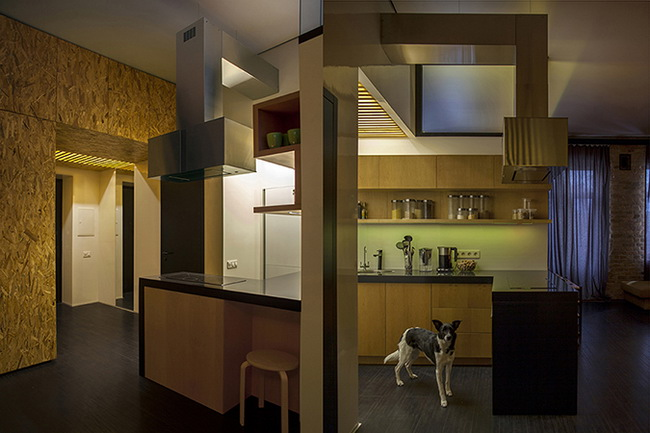 интерьер кухни, вокруг которой группируются спальня, столовая и гостиная