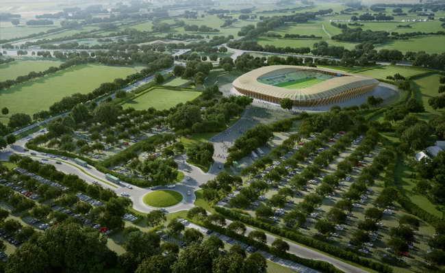 деревянный стадион в ландшафте