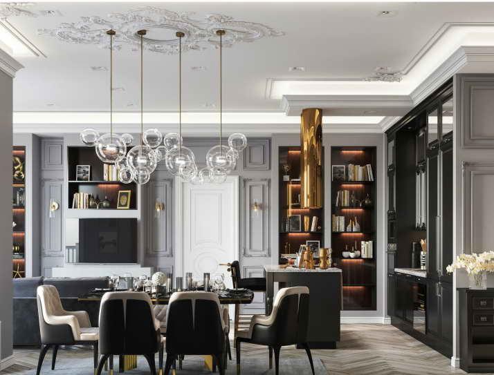 интерьер гостиной-столовой Grey&Gold