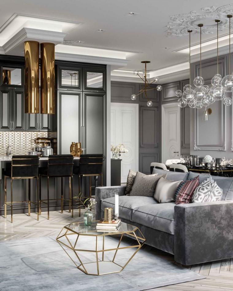 интерьер гостиной Grey&Gold