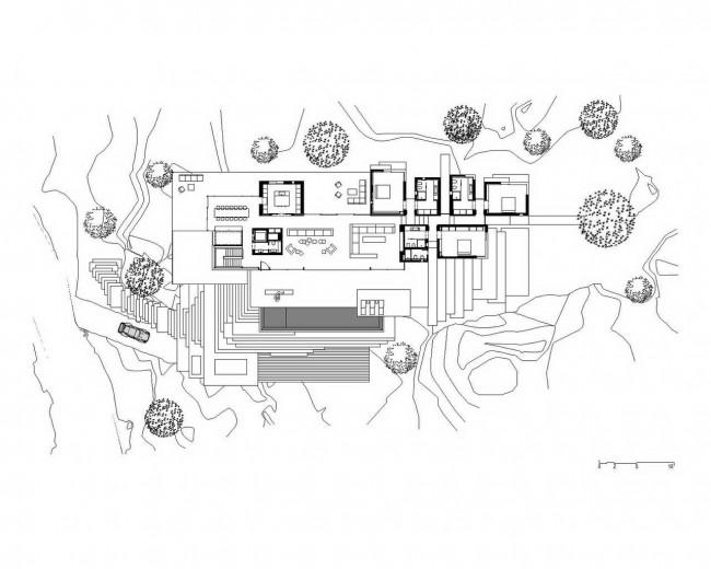 план первого этажа, дом на скалах