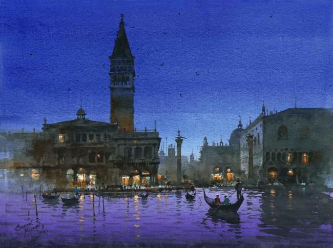 Вид Венеции, Прафул Савант, акварель