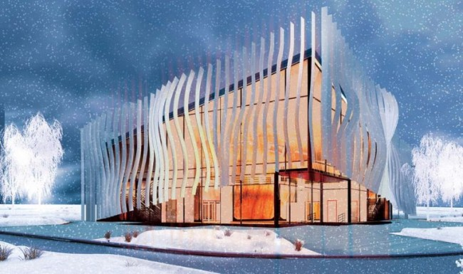 фасад с ламелями, арт-центр в Гусеве