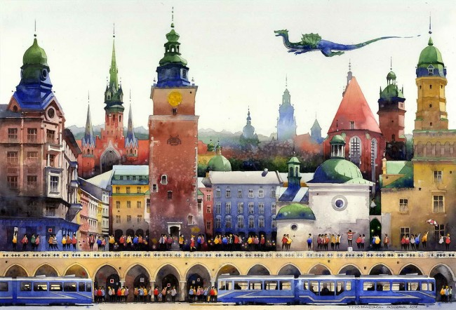 Бжозовски, вид Варшавы, акварель
