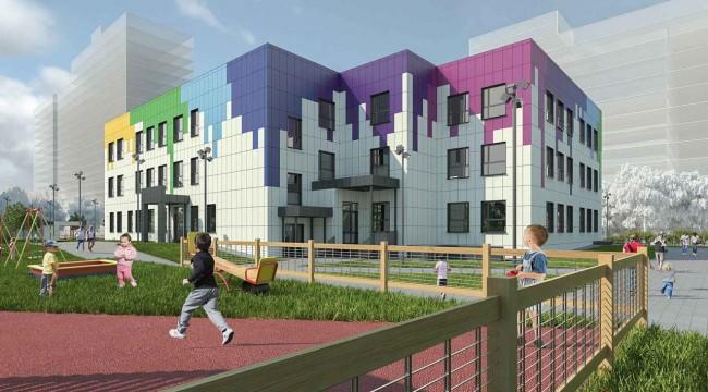 детский сад с цветными фасадами