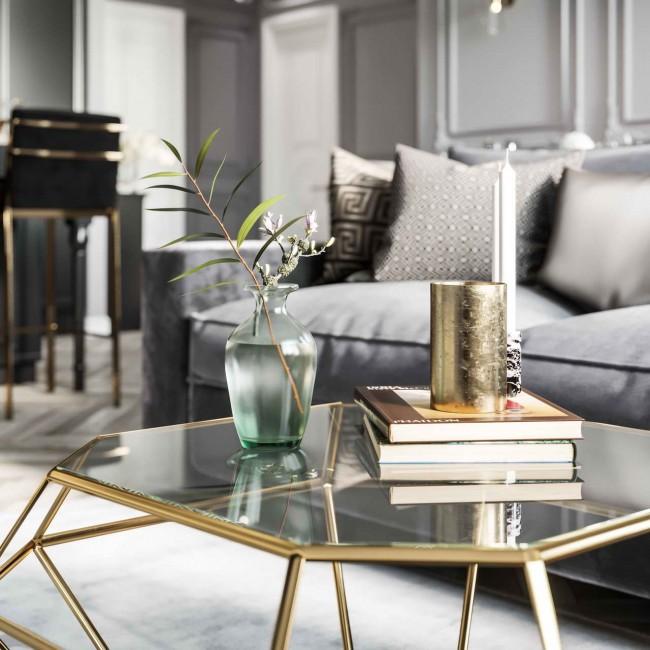интерьер с диваном и столиком Grey&Gold