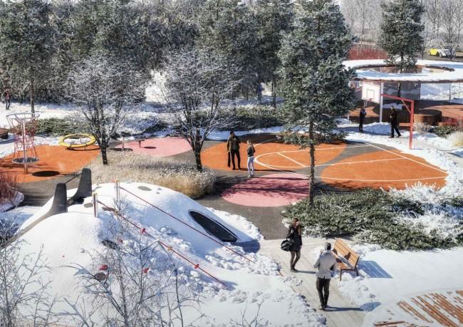 общественная зона с игровой площадкой