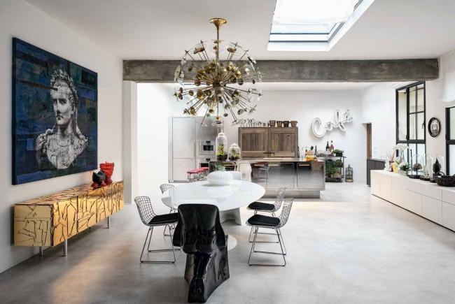 интерьер кухни-столовой, лофт