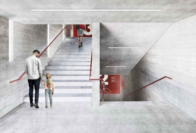 бетонные лестницы в интерьере нового стадиона