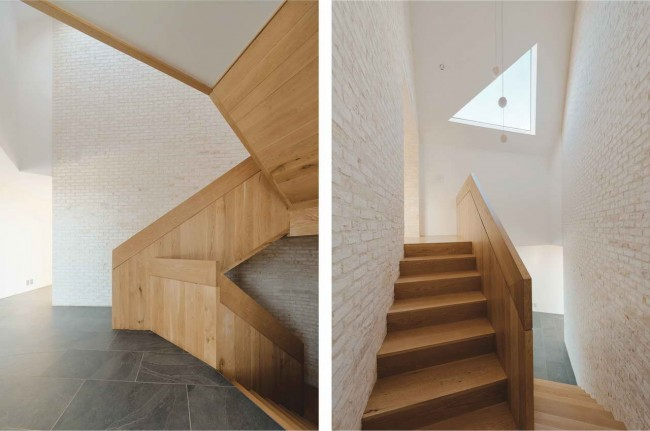 дубовая лестница в интерьере