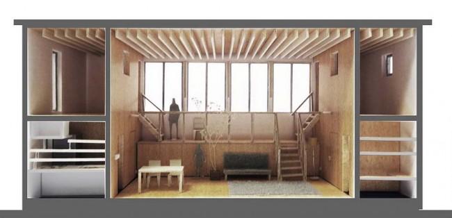 макет - разрез дома с балконом Ямамото