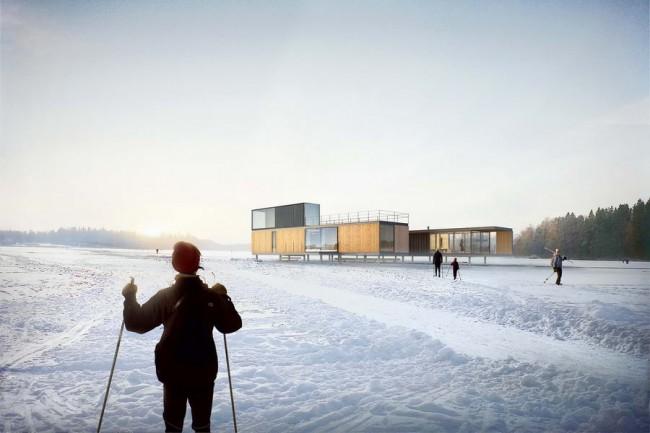 общественный центр зимой