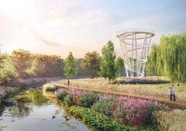 природный парк у реки в Доброграде, набережная