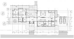 план 1-го этажа, дом на склоне у воды
