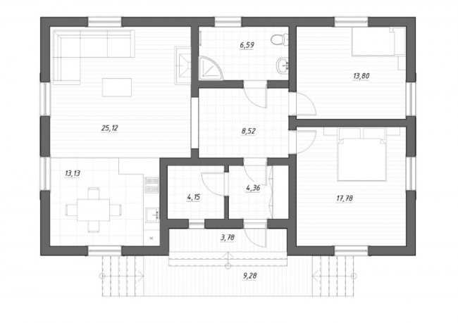 план первого этажа дома в Мичуринском