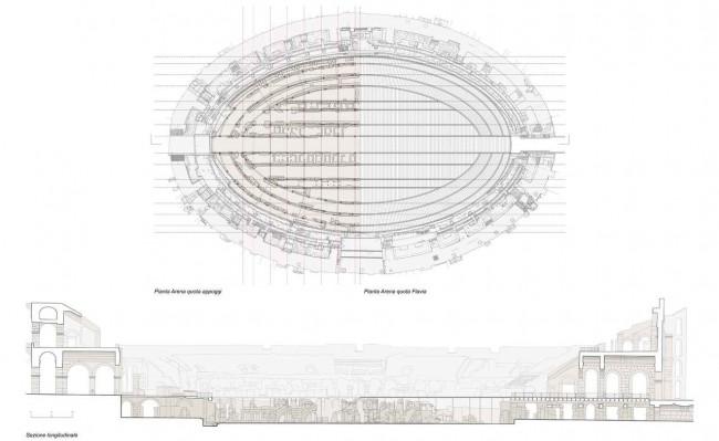 план и разрез нового этажа в Колизее