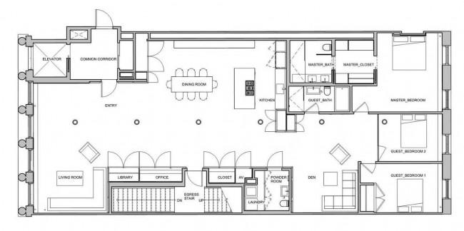 план лофта в Сохо