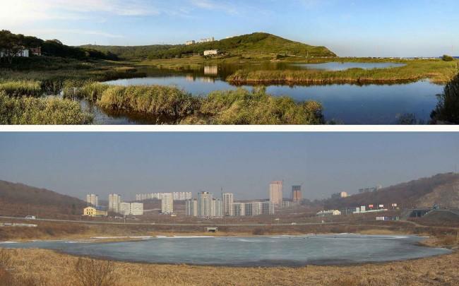 Владивосток: пруд и сопки