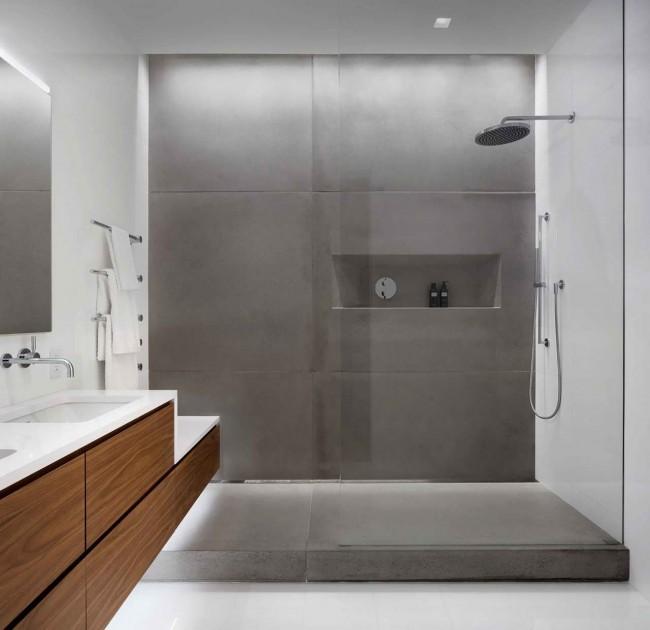 интерьер санузла с отделкой бетоном и плиткой