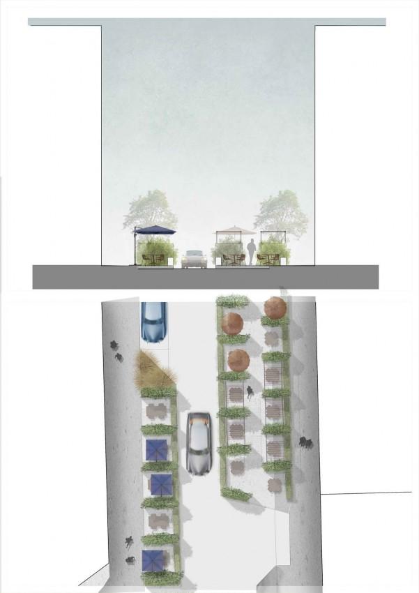 эскиз парклета и схема улицы