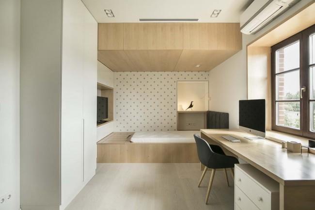 спальня с кабинетной зоной