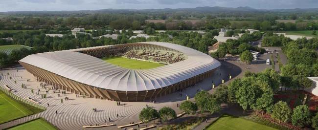 деревянный стадион, проект Zaha Hadid Architects