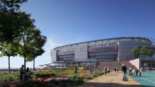 подход к зданию нового стадиона в Роттердаме
