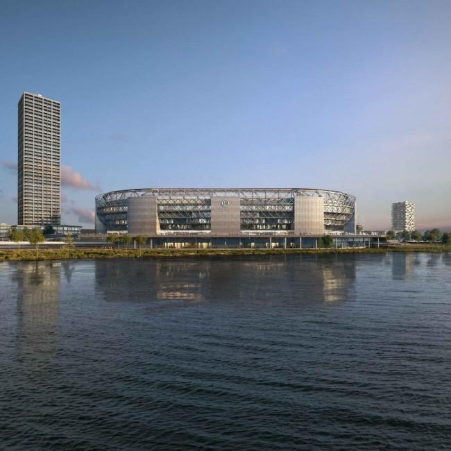 Новый стадион в Роттердаме, вид с реки Маас